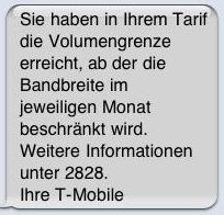 SMS zur Performance-Drosselung