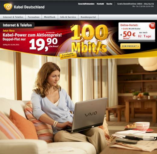 kabel deutschland 100 mbit s internet f r 19 90 euro pro monat news. Black Bedroom Furniture Sets. Home Design Ideas