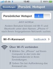 iPhone 4 als Personal Hotspot