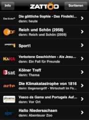 Zattoo-App f�r das iPhone