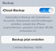 Backup f�r iPhone, iPad und iPod touch