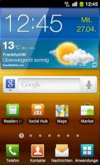 Android-Homescreen auf dem Samsung Galaxy S II
