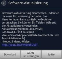 Software-Update f�r Samsung Galaxy Note verf�gbar