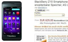 Blackberry Z10 im Online-Shop von Amazon