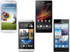 Samsung Galaxy S4, HTC One, Sony Xperia Z und Huawei Ascend