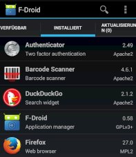 Google-Play-Alternative F-Droid f�r Open-Source-Apps.