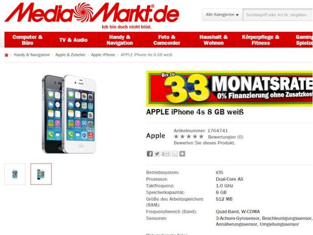 iphone 4s von apple bei media markt ohne vertrag f r 319. Black Bedroom Furniture Sets. Home Design Ideas