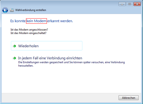 by call mit modem: