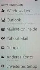 E-Mail-Konfigurationsmenü bei Windows Phone 7