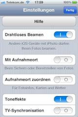Konfigurationsmenü in der iPhone-App