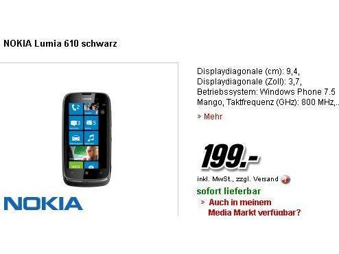 Nokia Lumia 610 Im Media Markt Für 199 Euro Teltarifde News