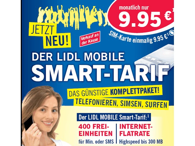 lidl ab montag 400 einheiten plus daten flatrate f r 9 95 euro news. Black Bedroom Furniture Sets. Home Design Ideas