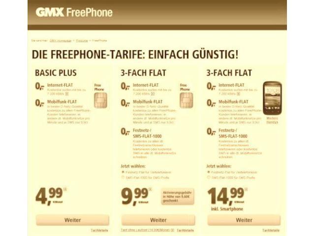 gmx und stellen mobilfunkangebot freephone ein news. Black Bedroom Furniture Sets. Home Design Ideas