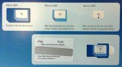 sim-karte im format 3-in-1 o2 3 in 1 SIM Card: Mini , Micro  und Nano SIM in einem Stück