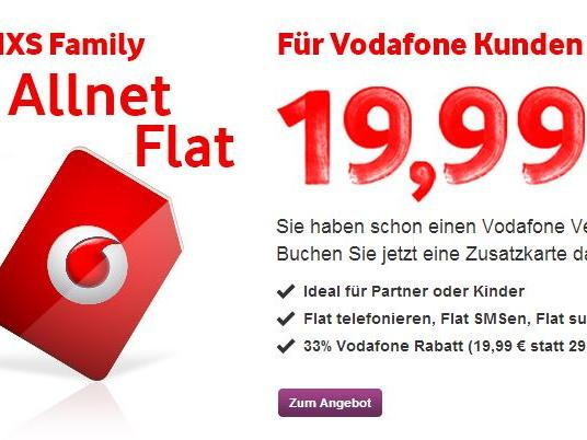 vodafone allnet flat red xs family f r 19 99 euro news. Black Bedroom Furniture Sets. Home Design Ideas