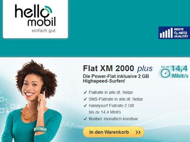 Hellomobil Allnet Flat Mit 144 Mbits Flatrate Und 2 Gb Für 1995
