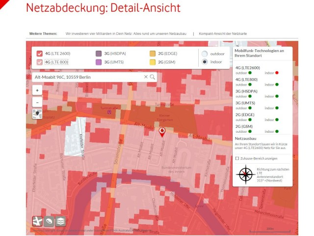 Lte Masten Karte.Neue Netzabdeckungs Karte Bei Vodafone Frequenzen