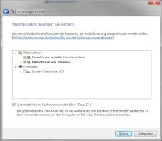 Sicherung per Windows