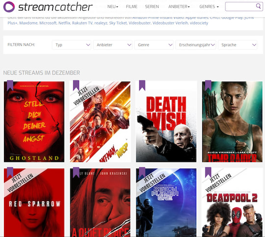 Streaming-Suchmaschine: streamcatcher