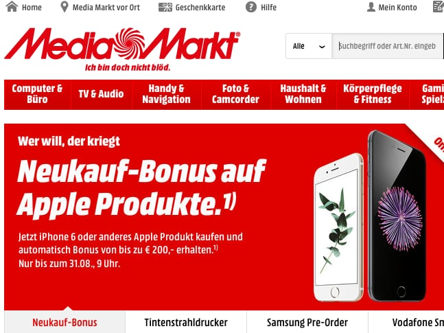 media markt apple produkte bis zu 200 euro g nstiger news. Black Bedroom Furniture Sets. Home Design Ideas