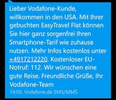 Vodafone Easy Travel Flat gilt auch in den USA