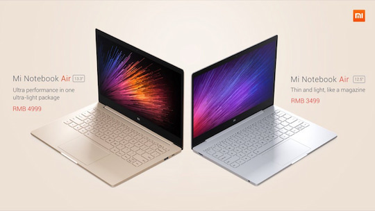 Xiaomi Mi Notebook Air in zwei Farben