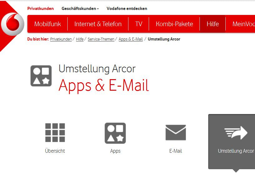 arcor stellt e mail und homepage um update. Black Bedroom Furniture Sets. Home Design Ideas