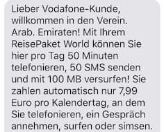SMS-Info zu den Konditionen der Roaming-Option
