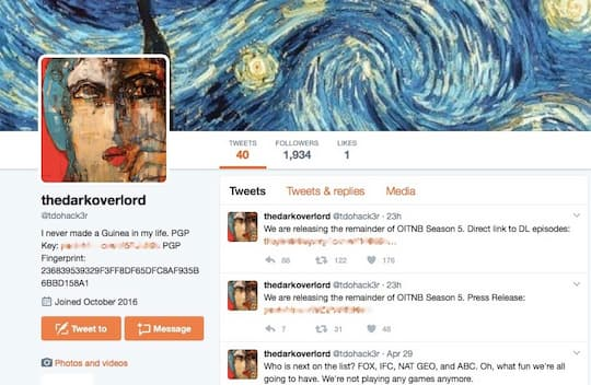 Screenshot vom Twitter-Account von The Dark Overlord