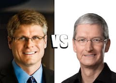 Links Qualcomm-CEO Steve Mollenkopf, rechts Apple-CEO Tim Cook