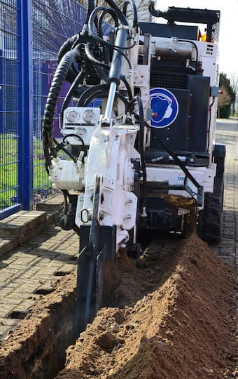 Microtrenching Maschine offene Straße