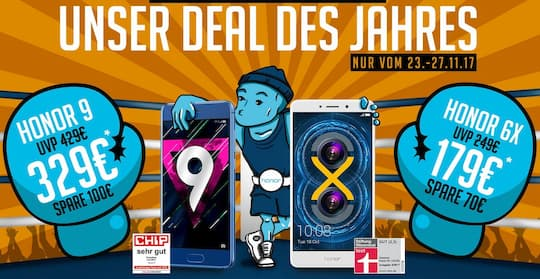 Honor Black Friday: Rabatt auf Honor 9 und Honor 6X