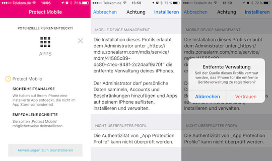 Die Installation der App Protect Mobile