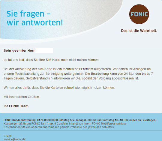 fonic prepaid karte teltarif hilft: Fonic Rufnummer aus Dornröschenschlaf geholt