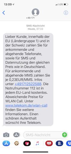 Telekom Verschickt Wieder Roaming Infos Per Sms Teltarif