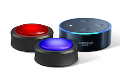 Amazons Echo Buttons und Echo Dot.