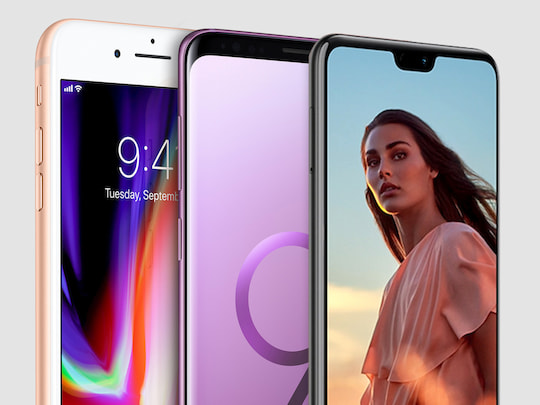 iPhone 8 Plus, Samsung Galaxy S9 Plus und Huawei P20 Pro.