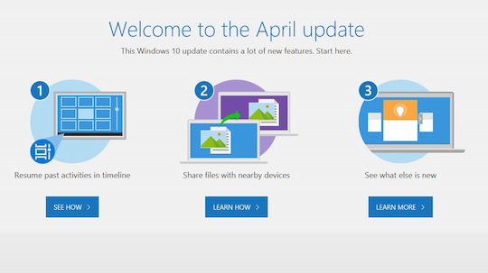 Microsoft begrüßt zum Windows 10 April Update