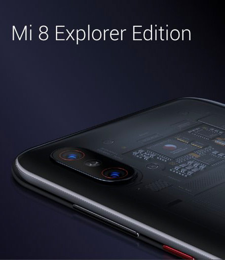 Xiaomi Mi 8 Explorer Edition mit transparenter Rückseite.