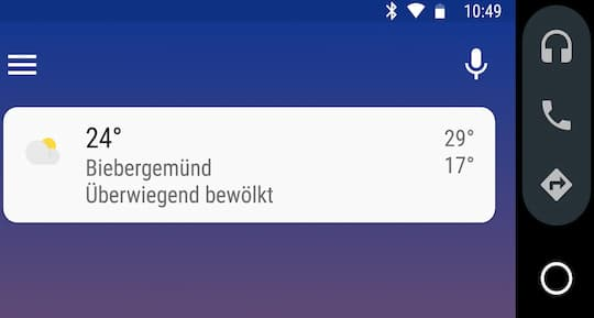 Android Auto Startmenü
