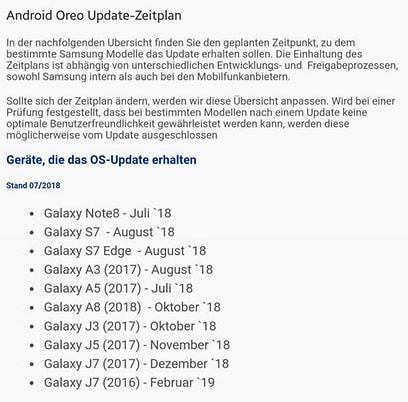 Samsung: Oreo-Update-Plan für Galaxy-Handys - teltarif de News