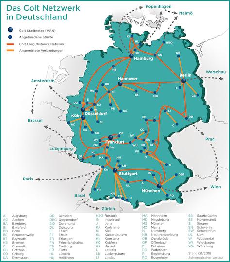 glasfaser karte deutschland Bis zu 100 GBit/s: Colt erweitert Glasfasernetz in Berlin