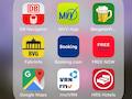 Mit welcher App würden Sie ein Taxi bestellen? Mit der roten in der zweiten Reihe rechts außen?
