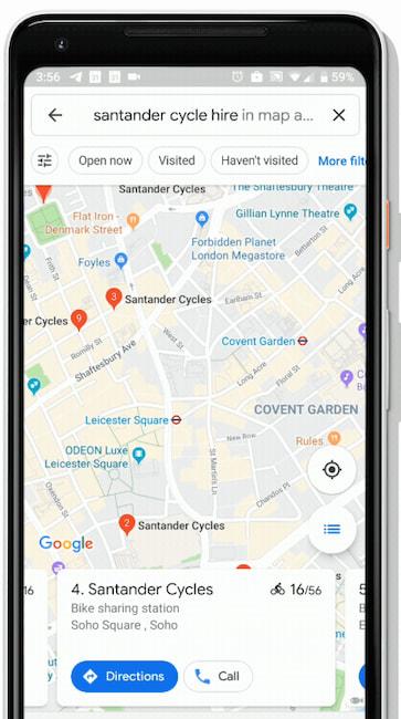 Anzeige in Google Maps: Verfügbare Leihräder in Metropolen ... on