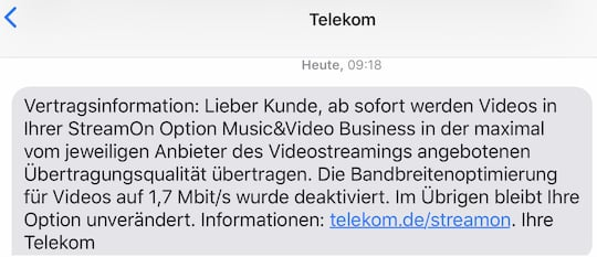 SMS-Info zur Umstellung der StreamOn-Option
