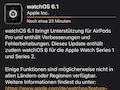 Gestern Abend wurde für die Apple Watch 3 bis 5 die neueste Version von WatchOS ausgeliefert. Die Uhr muss auf die Ladestation, das Update kann über die Watch-App auf dem Handy oder direkt an der Uhr geladen werden und dauert gut 1-2 Stunden je nach Netzqualität