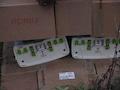 Die in Gartz vorgesehenen Antennen des Herstellers KATHREIN sind bereits für 5G geeignet. Die grünen Kappen decken die Kabelanschlüsse während des Transportes ab.