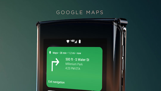 Navigation mit Google Maps über das Quick-View-Display