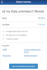 Option in der Mein-o2-App