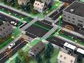 Schematische Zeichnung eines 6G-Mobilfunknetzes. An allen Straßenlaternen sind Mini-Sender, die über Terahertz (grün) versorgt und über niedrigere Frequenzen (orange) die Nutzer versorgen.